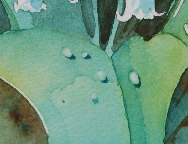 exemple d'application d'une goutte d'eau à l'aquarelle sur une feuille