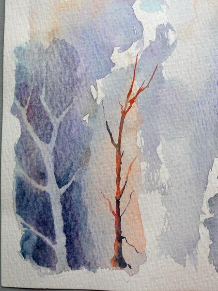 réalisation de l'arbre en négatif à l'aquarelle