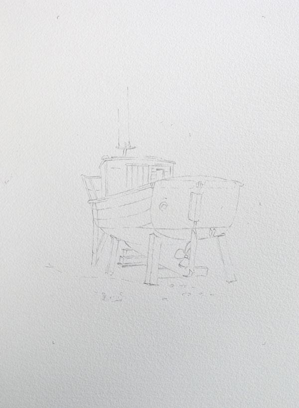 dessin du bateau au crayon de papier