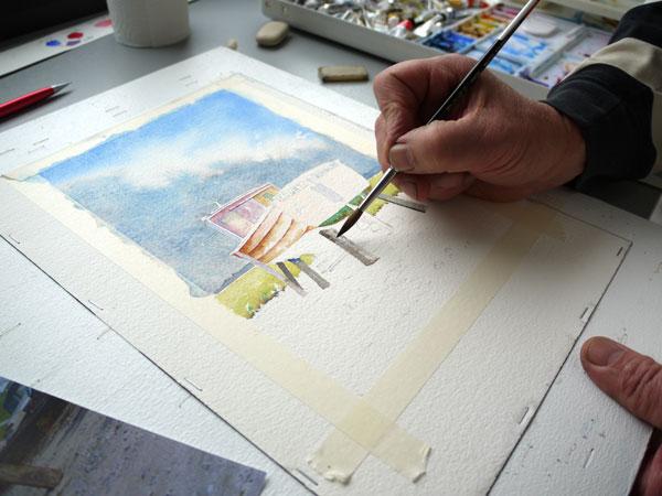 peindre les étais qui maintiennent le bateau