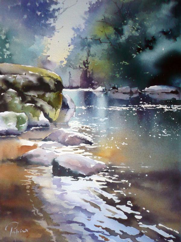 Aquarelle de Jean-Claude Papeix Sioule