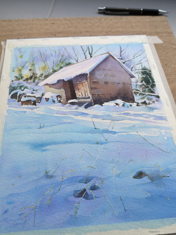 aquarelle-watercolor-baraque-neige-42