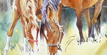 Thumbnail-Joel-simon-aquarelle-chevaux-une-mere-et-son-fils